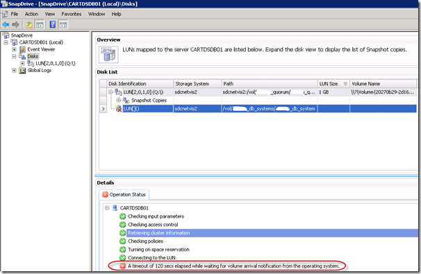 How to fix a Timeout Erorr while mounting a LUN in NetApp