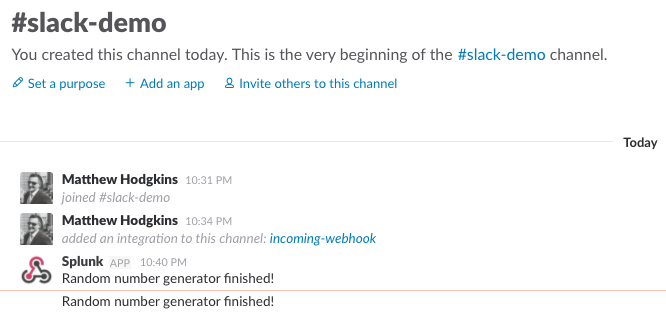Viewing basic alert in slack